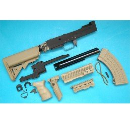 G&P AK 戰術型改裝套件 (伸縮電池尾托)(沙色)